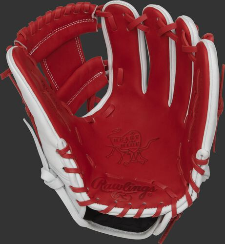 PRO204-2JP Rawlings Heart of the Hide Japan glove with a scarlet palm, web and laces