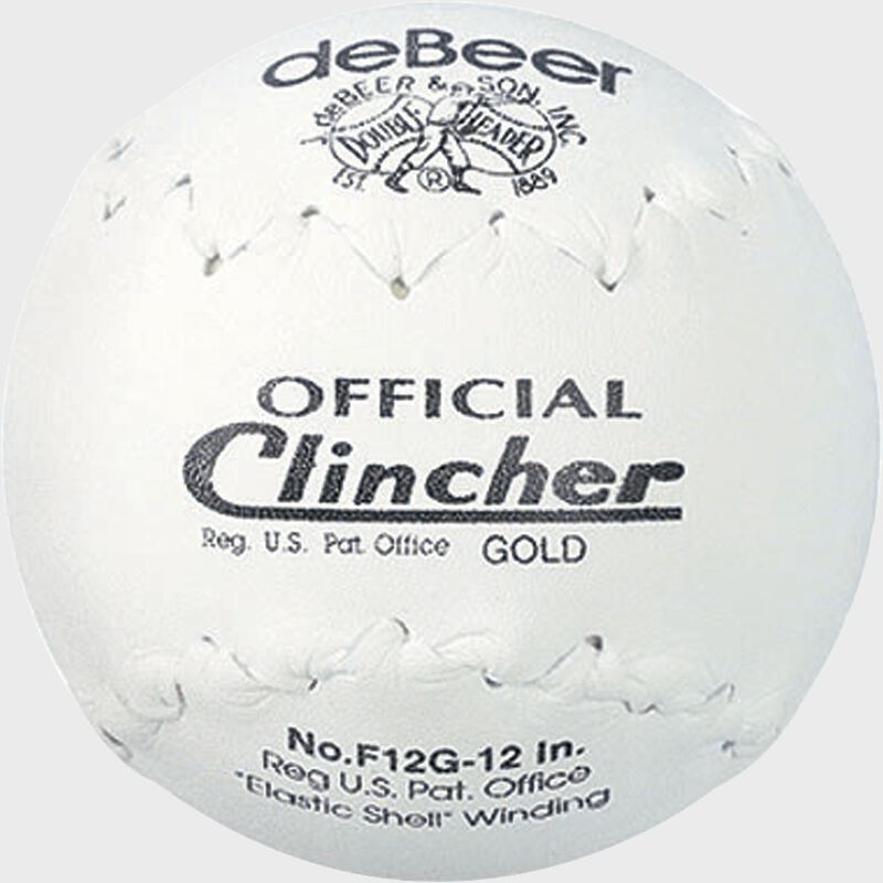 A white W10308 deBEER 12-inch Clincher softball