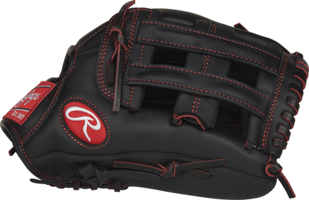 Thumb view of a black R9YPT6-6B R9 Series 12-inch youth outfield glove with a black H web