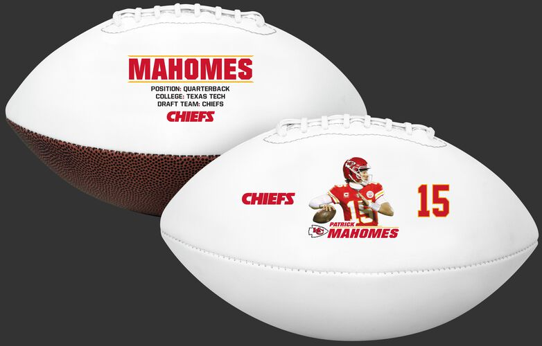 Two images showing both sides of a Patrick Mahomes full size football - SKU: 35341351113