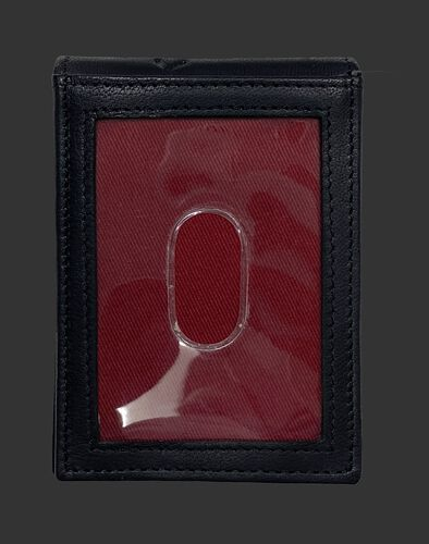 Back of a black Rawlings debossed stitch front pocket wallet with a clear ID window - SKU: RPW009-001