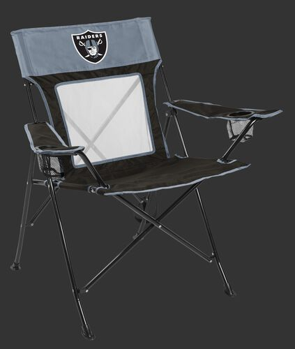 Front of Rawlings Silver and Black NFL Oakland Raiders Game Changer Chair With Team Logo SKU #00651072111
