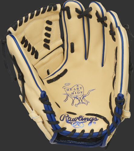 Camel palm of a Rawlings Heart of the Hide ColorSync 5.0 infield/pitcher's glove with blue stamping and black laces - SKU: PRO205-30CR
