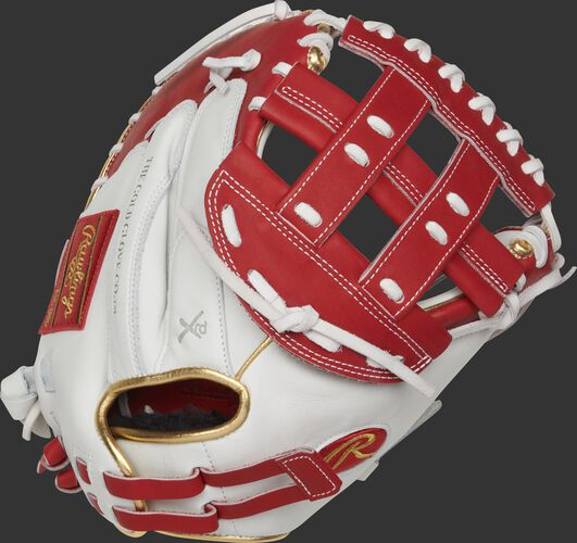 RLACM33FPS 33-inch Liberty Advanced catcher's mitt with a white back, gold binding/welting and adjustable pull strap