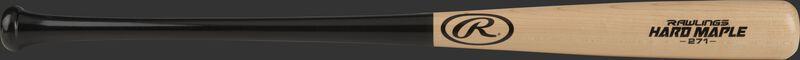 R271MB Adirondack wood bat with a natural wood barrel and black handle