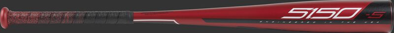 Barrel view of a red US955 2019 5150 USA baseball bat with black/white accents