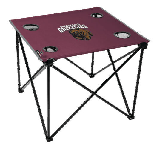 Rawlings Maroon NCAA Montana Grizzlies Deluxe Tailgate Table With Four Cup Holders and Team Logo Printed In The Middle SKU #00719155111