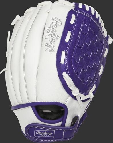 Back of a white 11.5-Inch Basket Web fastpitch softball glove with a purple wrist strap - SKU: ACAFP115PURW