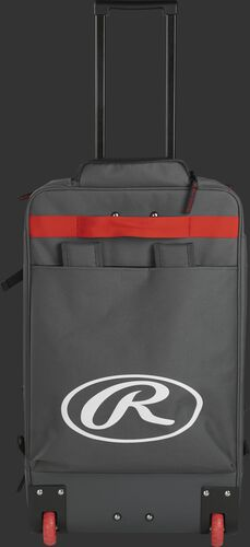 Back of a grey/scarlet R1801 wheeled catcher's equipment backpack with a large, white Oval R logo and red wheels