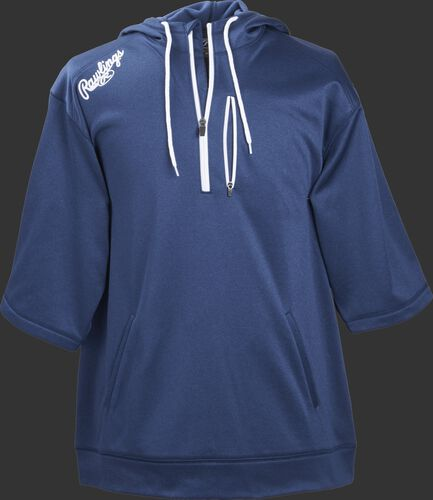 Front of Rawlings Navy Adult Half Sleeve Hoodie with Zipper - SKU #RHTYO-DSW-88