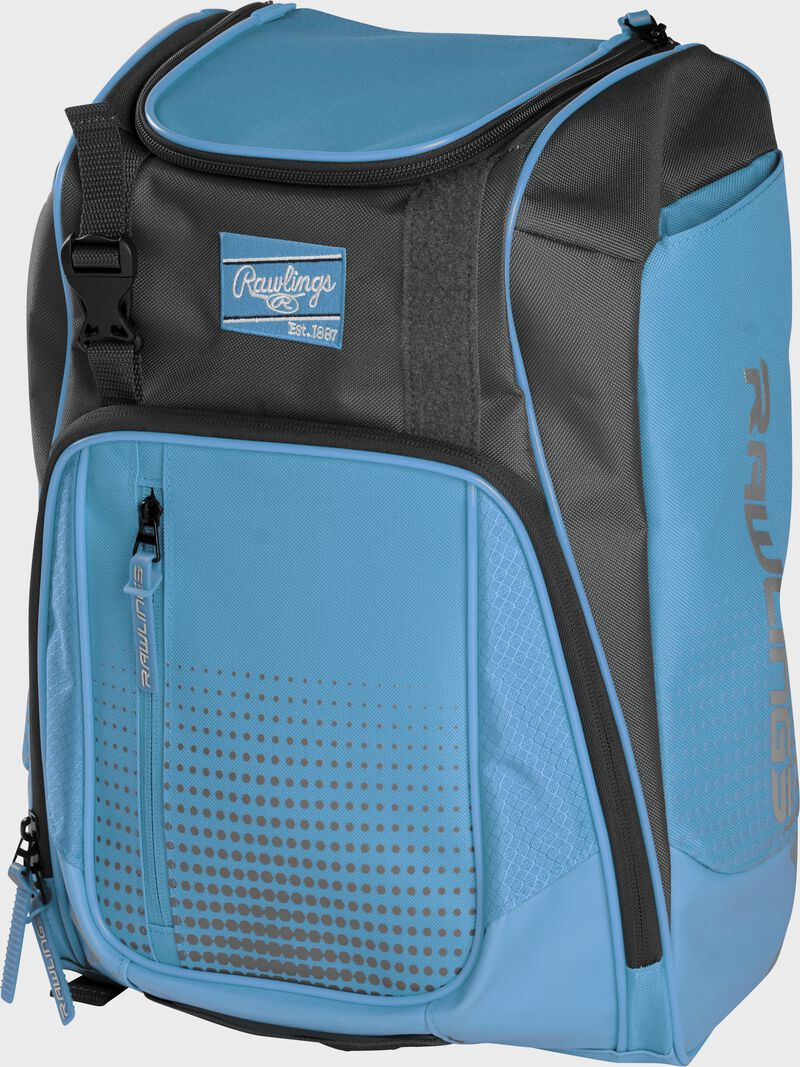Front angle of a Columbia blue Franchise backpack with gray accents and Columbia blue Rawlings patch logo - SKU: FRANBP-CB