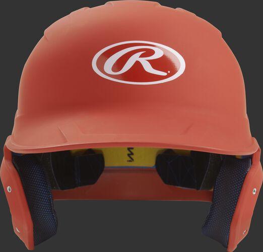 Front of a matte burnt orange MACH junior size batting helmet