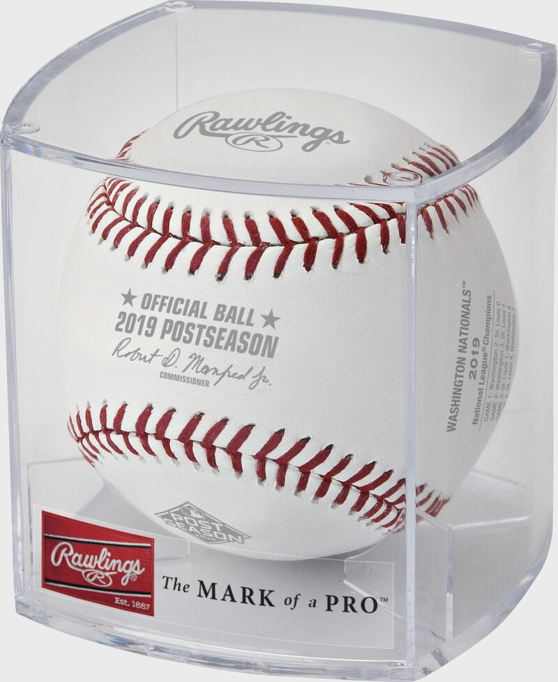 The NLCS19CHMP Official MLB NLCS Champions baseball in a clear display cube