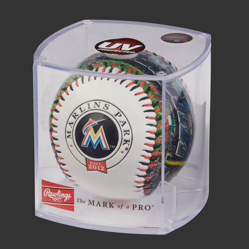 MLB Miami Marlins stadium baseball in a display case
