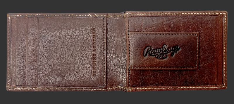 Inside of a Rawlings Buffalo Voyager front pocket wallet with a money clip on the right side - SKU: