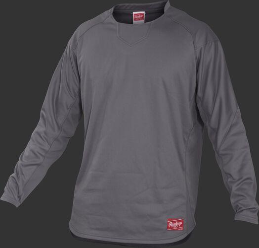 Front of Rawlings Gray Youth Long Sleeve Shirt - SKU #YUDFP3-B-88