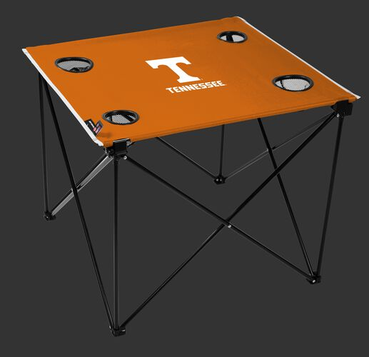 A orange NCAA Tennessee Volunteers deluxe tailgate table with four cup holders and team logo printed in the middle SKU #00713101111