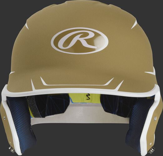 Front of a matte vegas gold/white MACH senior size batting helmet
