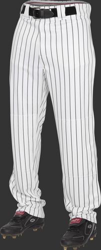 Front of Rawlings Black Adult Semi-Relaxed Pinstripe Pant - SKU #PIN150
