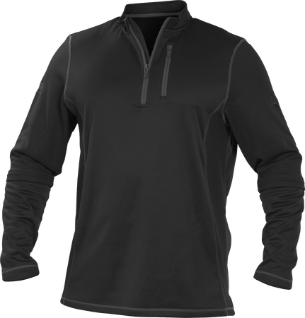 TECH2 Black Rawlings quarter-zip fleece pullover with graphite chest pocket zipper