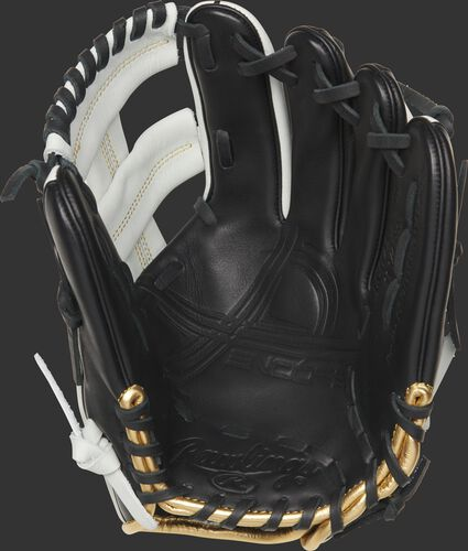 EC1125-20BW Rawlings Encore youth baseball glove with a black palm and black laces