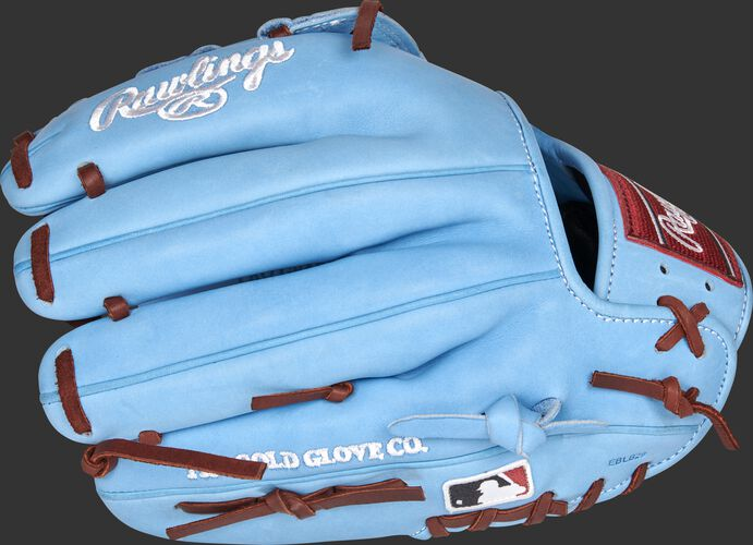 Columbia blue back of a Philadelphia Phillies Heart of the Hide infield glove with the MLB logo on the pinky - SKU: RSGPRO204-6PHI