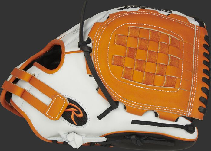 Thumb of a RLA120-3OB Liberty Advanced Color Series 12-inch infield/pitcher's glove with black trim and orange Basket web