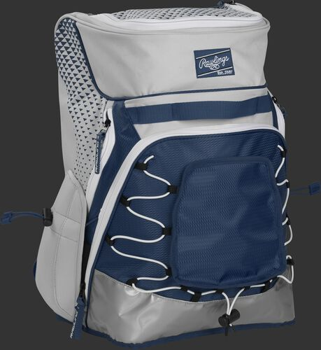 Front right of a white/navy R800 softball backpack