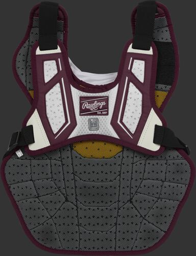 Back harness of a maroon/white CPV2N adult Velo 2.0 chest protector with Dynamic Fit System 2.0