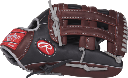 R93029-6BSG R9 Series 12.75-inch outfield glove with a black/sherry thumb and sherry H web