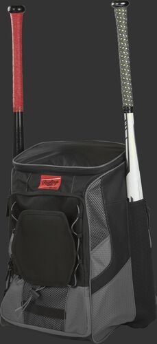 Front left of a gray/black R600 Rawlings players equipment backpack with two bats
