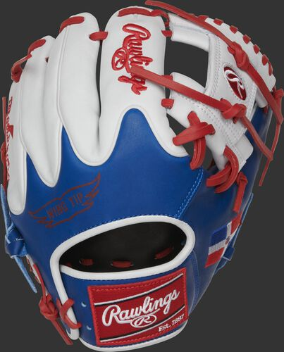 PRO204W-2DR Heart of the Hide 11.5-Inch Dominican Republic glove with white fingers and royal Wing Tip back