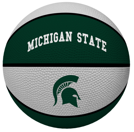 A green/white NCAA Michigan State Spartans alley oop youth size rubber basketball