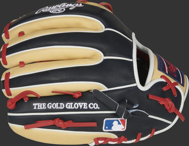 Camel/navy fingers of a 2021 Rawlings HOH 11.5-Inch infield glove with the MLB logo on the pinkie - SKU: PRO314-19SN