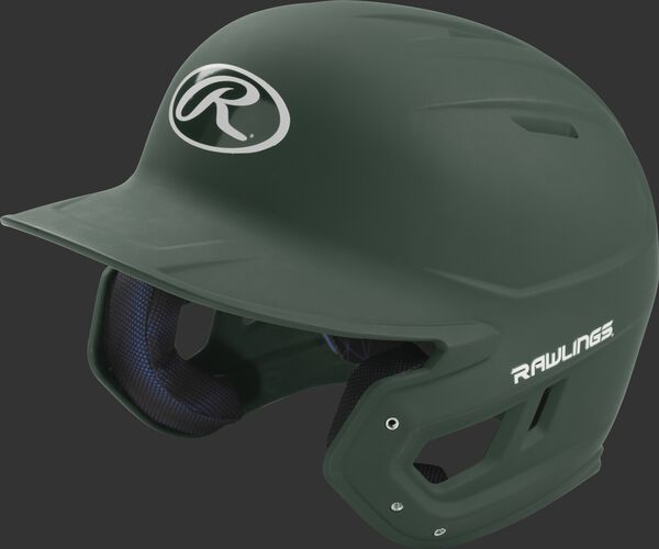 Left angle view of a Rawlings MACH Junior helmet with a one-tone matte dark green shell
