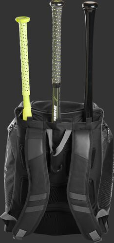Back of a gray Rawlings Legion baseball bag with 3 bats in the bat storage sleeve - SKU: LEGION-GR
