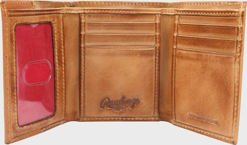 Inside of a tan RW80003-204 Rawlings tri-fold wallet with 6 credit card slots and clear ID window on the left