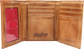 Inside of a tan RW80003-204 Rawlings tri-fold wallet with 6 credit card slots and clear ID window on the left image number null