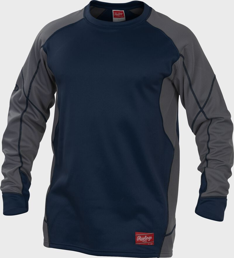 UDFP4 Dugout fleece pullover with a navy body, grey sleeves and navy stitching