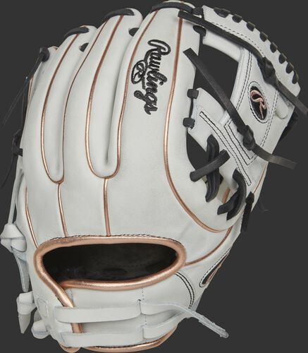 RLA715SB-2RG 11.75-inch Liberty Advanced I-web glove with a white back, rose gold binding/welting and adjustable pull strap