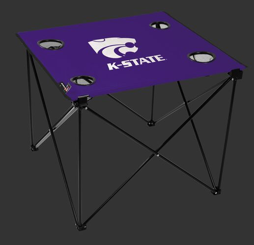A purple NCAA Kansas State Wildcats deluxe tailgate table with four cup holders and team logo printed in the middle SKU #00713033111