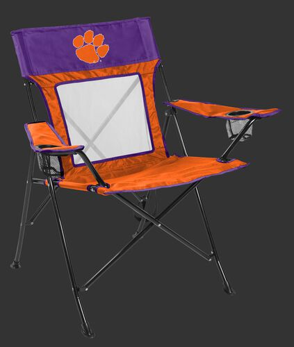 Front of Rawlings Purple and Orange NCAA Clemson Tigers Game Changer Chair With Team Logo SKU #00643010111