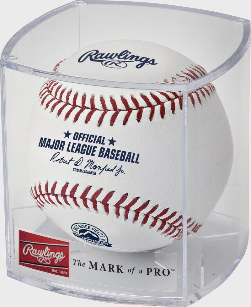 A 2021 Salt River Fields 10th anniversary baseball in a clear display cube - SKU: EA-ROMLBSRF10-R