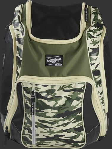 A camo Legion backpack with a black Rawlings patch on the front - SKU: LEGION-CAMO