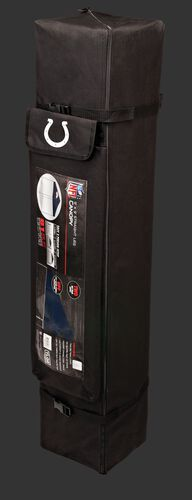 Black carry case of a 9x9 Indianapolis Colts canopy with a team logo on the side compartment - SKU: 03231070112