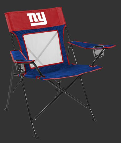Front of Rawlings Red and Blue NFL New York Giants Game Changer Chair With Team Logo SKU #00651078111