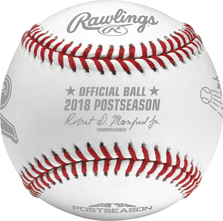 An official NLCS18DL 2018 National League Championship Series dueling baseball with the league commissioner's signature