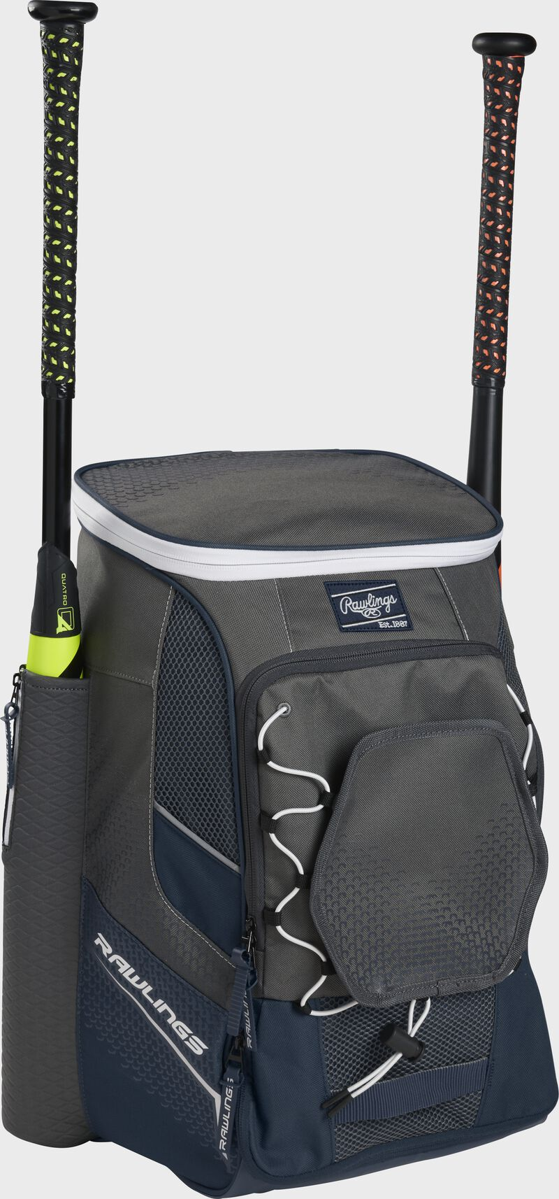 Front left angle of a navy Rawlings Impulse baseball gear backpack with two bats - SKU: IMPLSE-N