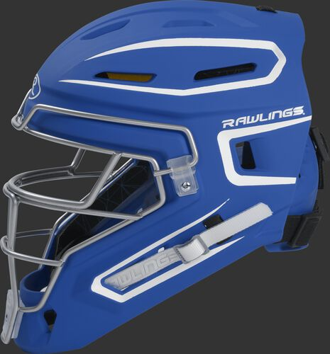 Left side of a royal CHMACH Rawlings senior hockey style Mach catcher's helmet