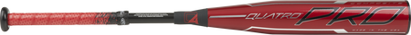 Barrel of a red USZQ12 Rawlings Quatro Pro USA youth bat with a red barrel, red/black grip and silver accents